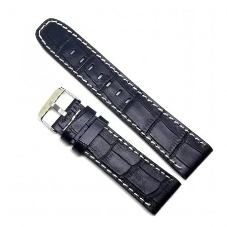 Curea de ceas din piele naturala neagra - 22mm - C3025