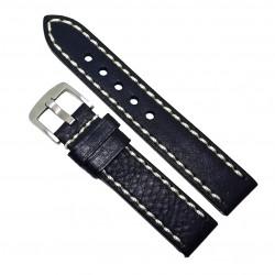Curea de ceas din piele naturala neagra, cusatura alba - 20mm - C3032