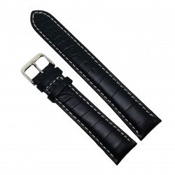 Curea de ceas din piele naturala Neagra XL - 18mm /  20mm / 22mm / 24mm - C3044