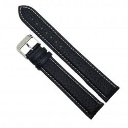 Curea de ceas din piele naturala neagra XL - 18mm / 20mm - C3052