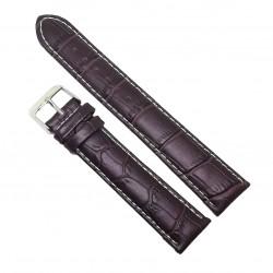 Curea de ceas din piele naturala anti-alergica Maronie XL - 20mm - C3068