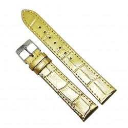 Curea pentru ceas din piele naturala antialergica Aurie - 18mm - A-1G18