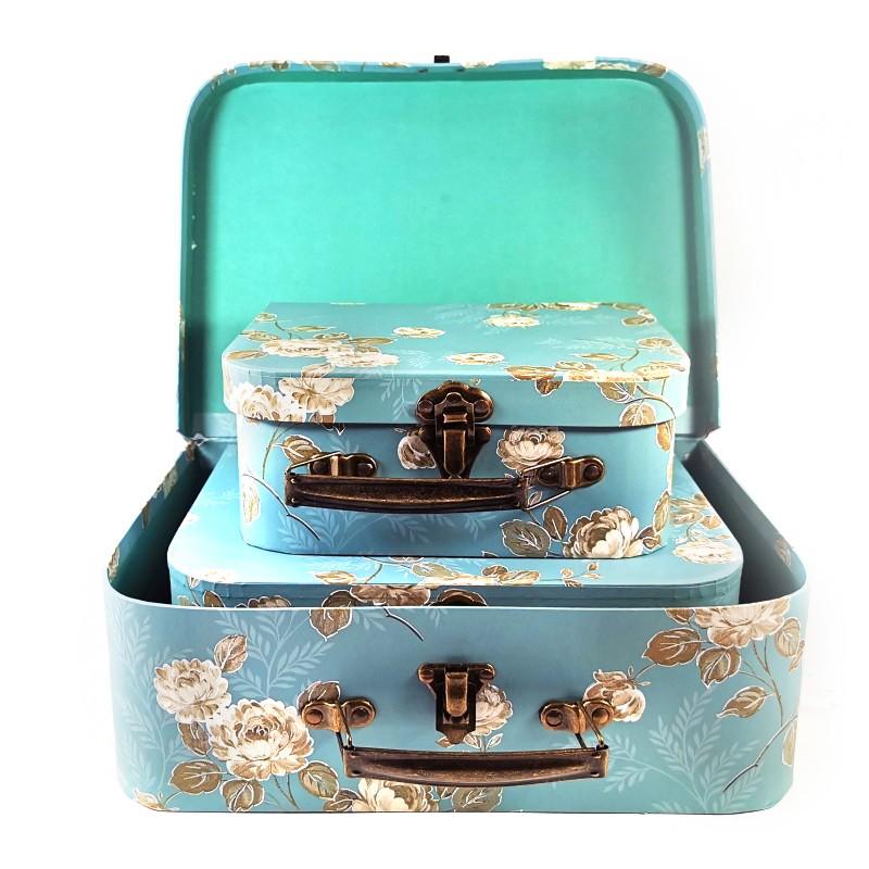 Casete Bijuterii Albastre Cu Motive Florale Set 3 Bucati W4202