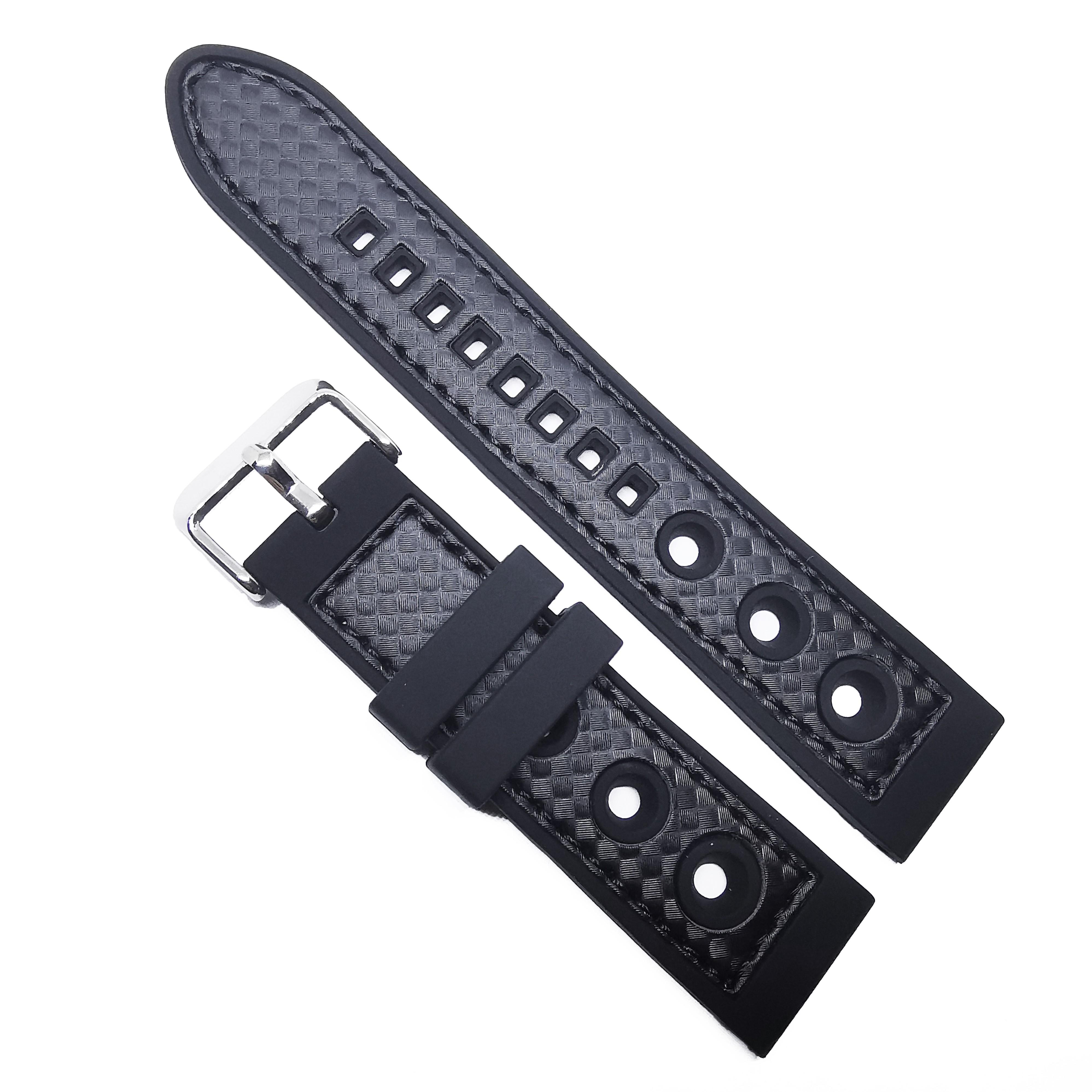 Curea De Ceas Din Silicon - Culoare Neagra,  Model Cu Gaurele - 20mm, 22mm